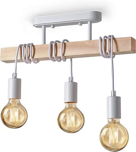 Lightess Suspension Luminaire Industrielle Plafonnier en Bois Métal 3 Bras Lampe Pendantif Lustre Vintage pour Chambr...