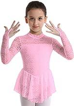 inhzoy Big Girls' Kids Floral Lace Long Sleeve Mock Neck Ice Figure Skating Dress Gymnastic Tutu Skirted Leotard Costume