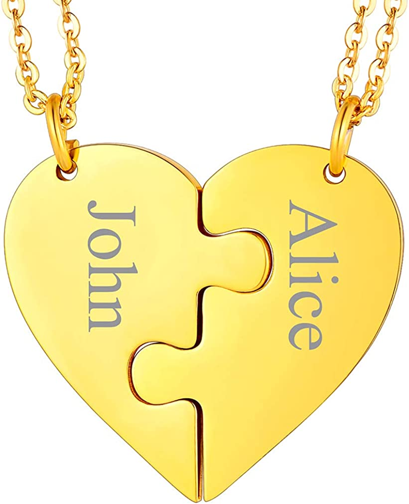 FaithHeart BFF Puzzle Stitching Necklace 2/3/4/5/6/7/8 Pcs Stainless Steel Personalized Name Heart Pendants Family Love Jewelry Free Engrave Friendship Forever Necklaces Set with Delicate Packaging