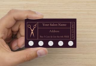 Customize YOUR COMPANY Hair Salon Loyalty Punch Business Cards Personalized with your business info (1000)