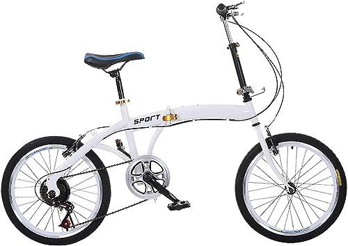 venderse como panqueques WYD Bicicleta Ligera Plegable Bicicleta de Cuadro de Acero Acero Acero de Alto Carbono de 20 Pulgadas Bicicleta de cercanías de 6 velocidades con Freno de Disco Doble Ciudad, para Adultos y niñas, blanco  Hay más marcas de productos de alta calidad.