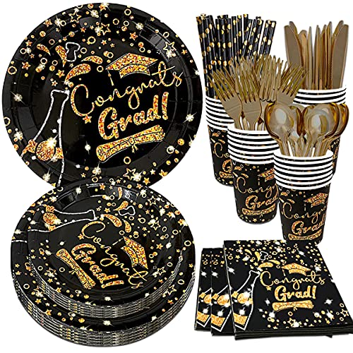 Graduation Party Supplies, Graduation Paper Plates, Graduation Plates and Napkins 2021, Cups, Straws, Graduation Tableware Set for Graduation Party Decorations, Serves 20