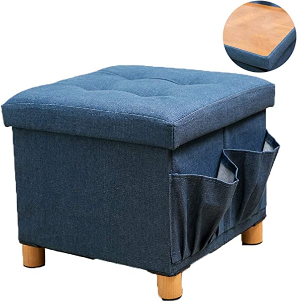 WALTSOM Folding Storage Ottoman Cube Footrest Seat Stool Coffee Table With Woode Feet Side Pockets Double Sides Lid Soft Padding For Home And Office 15 X15 X15 Blue