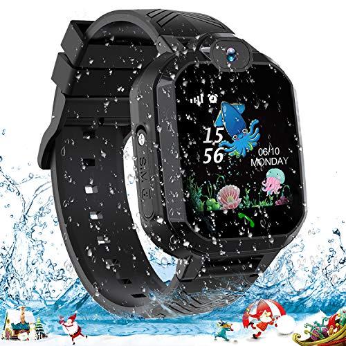 Smartwatch per bambini, IP67 impermeabile LBS Tracker Telefono cellulare touch screen a due vie con chiamata bidirezionale anti-perso per ragazze, scheda SIM SOS con fotocamera, sveglia, giochi