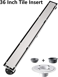 Ushower Linear Shower Drain 36 Inch, Tile-insert Brushed Nickel Stainless Steel Linear Drain with Drain flange kit
