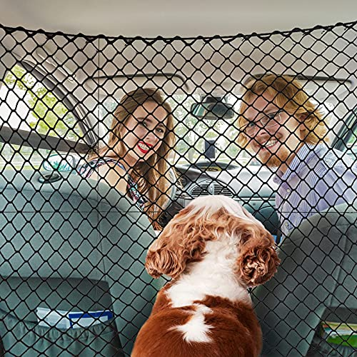 Pet Net Vehicle Safety Mesh Car Dog Net Barrier for SUV/Car/Truck/Van -Easy Install, Car Divider for Driving Safely with Children & Pets - Fits Behind Front Seats