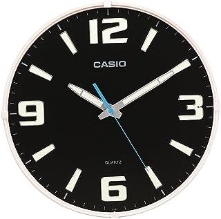 Casio Round Resin Analog Wall Clock (30.8 cmx30.8 cmx4.9 cm, White and Black, WCL53)