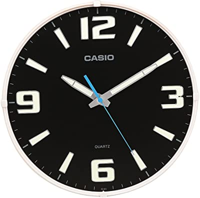 Casio Round Resin Analog Wall Clock (30.8 cmx30.8 cmx4.9 cm, White and Black, WCL53)