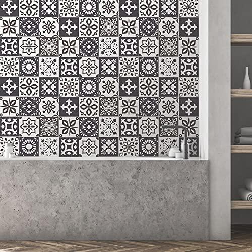 Walplus Marjorelle Negro y Blanco Marroquí Azulejo Set de Pegatinas - 15 X 15CM (6 X 6 IN) - 24 Piezas, Bricolaje Arte, Decoraciones para el Hogar, Adhesivos, Decoración de Cocina, Baño Ideas