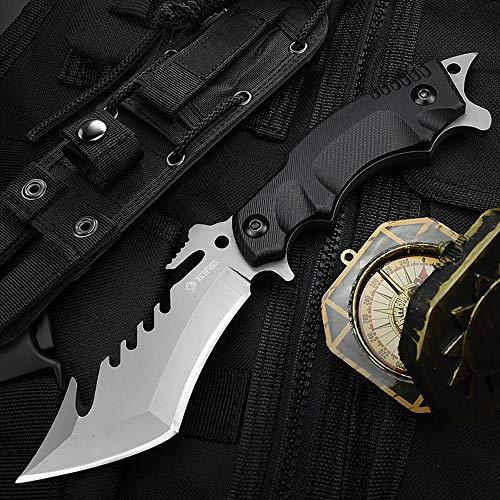 NedFoss Outdoor Survival Messer, Camping Gürtelmesser, Überlebensmesser Survival Bushcraft Messer, Premium Qualität, schwarz (B-schwarz)