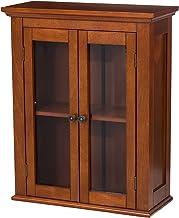 "Glitzhome Wooden Bathroom Wall Storage Cabinet, 24"" H, Brown"