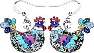 NEWEI Enamel Alloy Hen Chicken Earrings stud Dangle Unique Cut Fashion Animal Jewelry For Women Girls Gift Charms