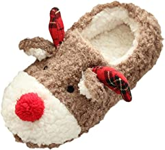 Auniemifly Warm Winter Indoor Slippers Ladies Cute Deer Soft Plush Home Slides Women Interior Elk Cotton Shoe