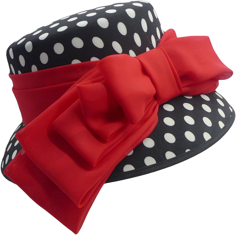 June's Young Women Hats Big Bow Polka Dots Elegant Lady Party Wedding Fedoras
