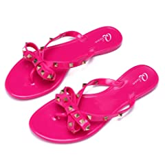 7eb9fbde222f Qilunn Women Studded Bow Flip Flops Jelly Thong Sandals Rubbe .
