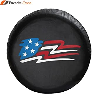 Favorite-trade LINED VINYL LEATHER GRAIN SPARE TIRE COVER Pop-up Camper US Flag (12