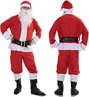 waitFOR Men Christmas Santa Costume,Adult Men 7 PCs Santa Claus Red Hat+Long Sleeve Tops+Trousers+Waist Belt+Boots Cover+G...