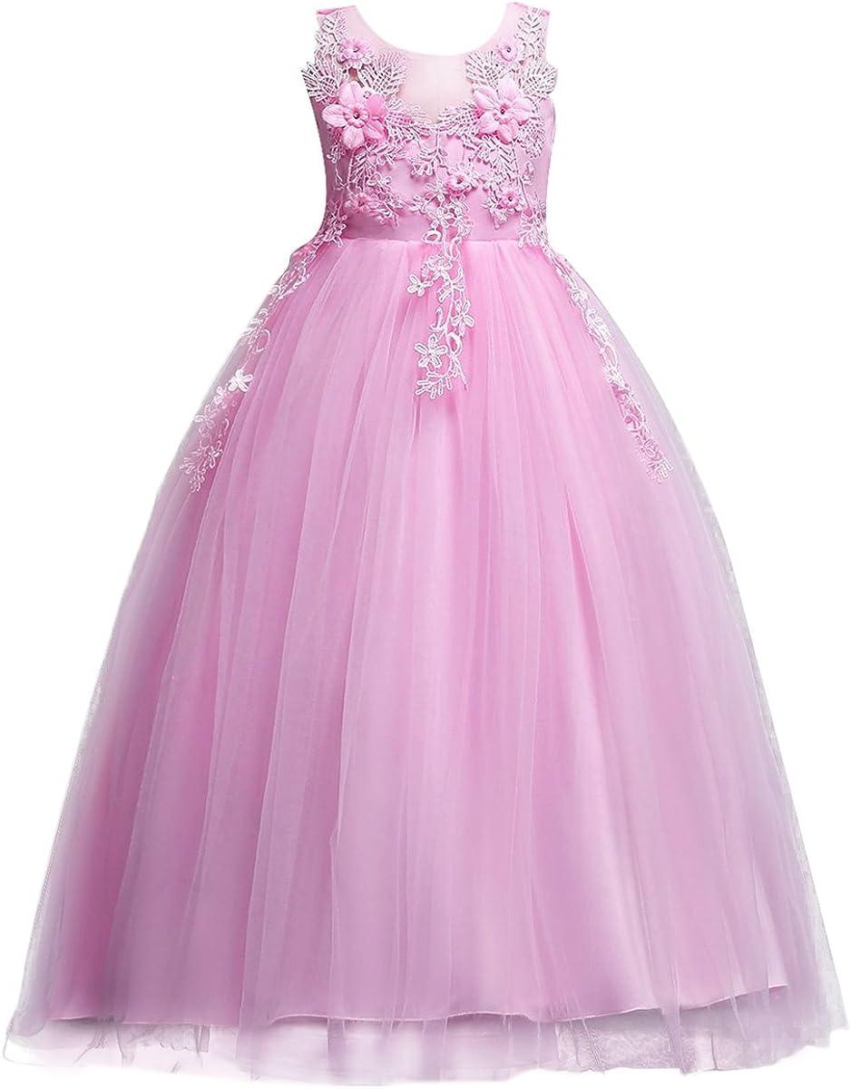 FYMNSI Denver Mall Flower Girls Applique Princess Lace Dress Birthday Tulle 35% OFF