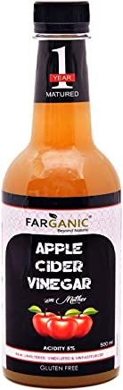FARGANIC Apple Cider Vinegar with Strand of Mother Raw, Unfiltered and Undiluted for Weight Loss Management (500 ml)