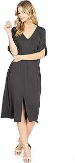 Wish List Women's Casual V-Neck Midi T Shirt Dress