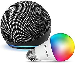 Echo Dot (4ta Gen) con Lloyds Foco Inteligente WiFi, Multicolor + Luz Blanca Fría y Cálida, Negro