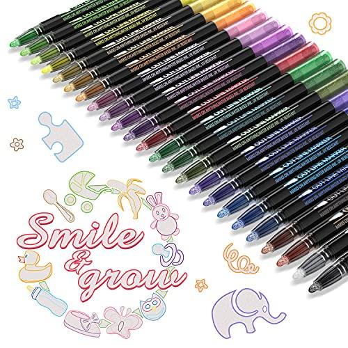 Outline Stifte Pecosso, 24 Farben Stift Wasserfester Stift mit doppelter Linie, vielseitige Nutzung für Pläne, Kunsthandwerk, DIY-Karten, Malen, Hobbys
