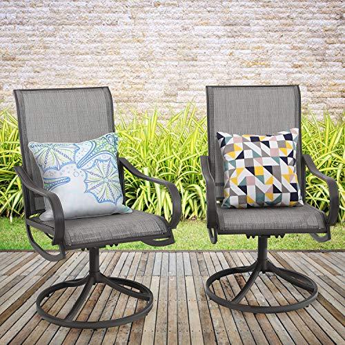 MFSTUDIO 2 Pieces Patio Metal Dining Swivel Chairs Weather Resistant Garden Outdoor Furniture, Sling Mesh Brown Steel Frame, Grey