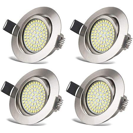 Spots LED Interieur Plafonnier Encastrable Orientable Rond 3.5W Ultraslim Blanc Froid 6000K 400LM 230V IP20 pour Plafond de Chambre, Cuisine, Salon, Couloir (Lot de 4)