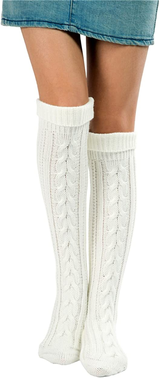 Vintage Socks | 1920s, 1930s, 1940s, 1950s, 1960s History SherryDC Womens Cable Knit Long Boot Stocking Socks Knee High Winter Leg Warmers  AT vintagedancer.com
