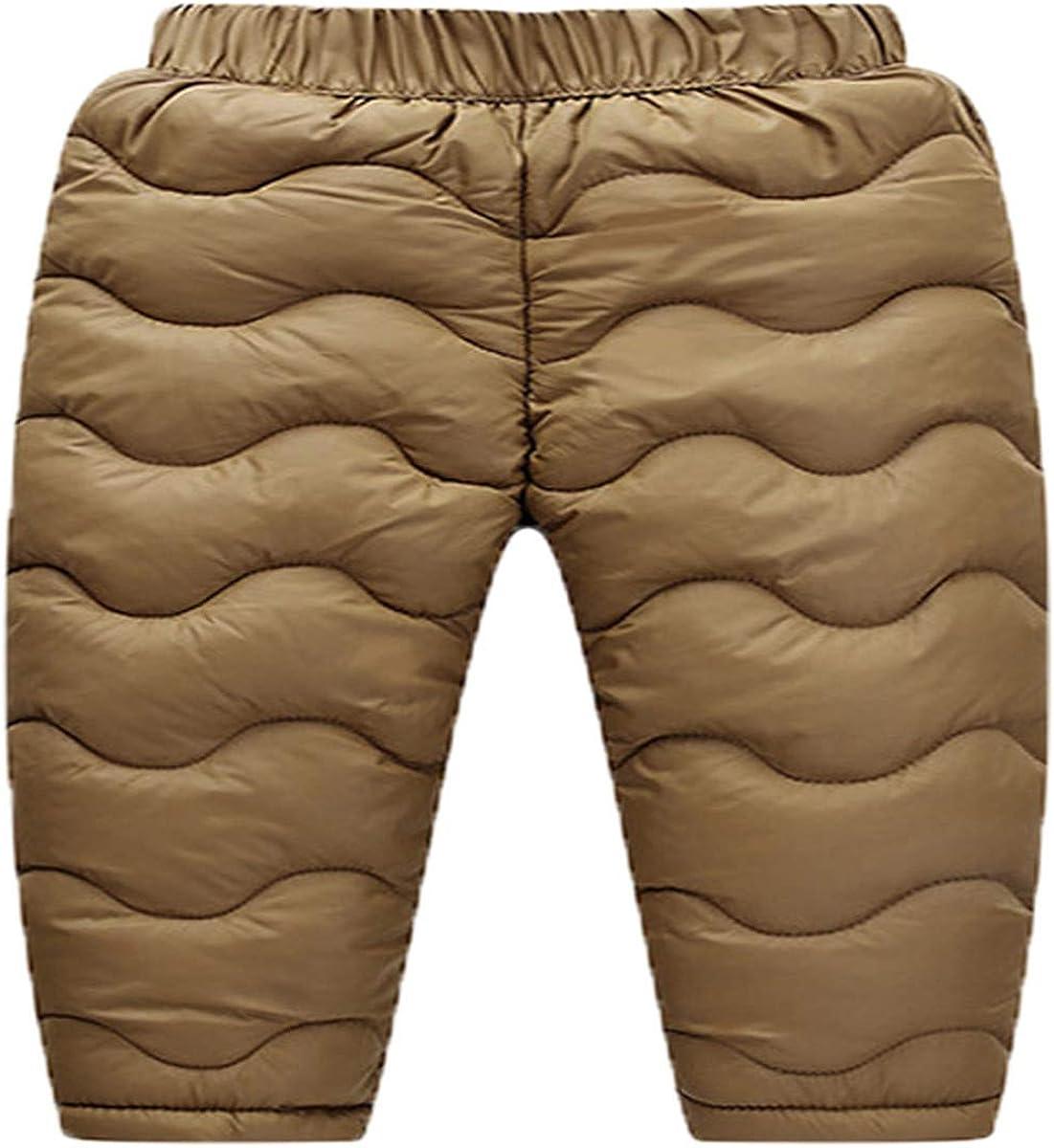 Little Boys Girls Winter Warm High Waist Puffer Down Thick Snow Pants Windproof Elastic Ski Bib Pants