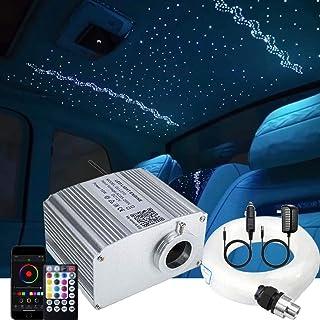 AZIMOM 10W Twinkle Bluetooth RGBW LED فیبر نوری ستاره سقف کیت نور با حالت موسیقی حسی APP کنترل از راه دور برای دکوراسیون داخلی اتومبیل داخلی 300 قطعه 0.75 میلی متر 9.8 فوت