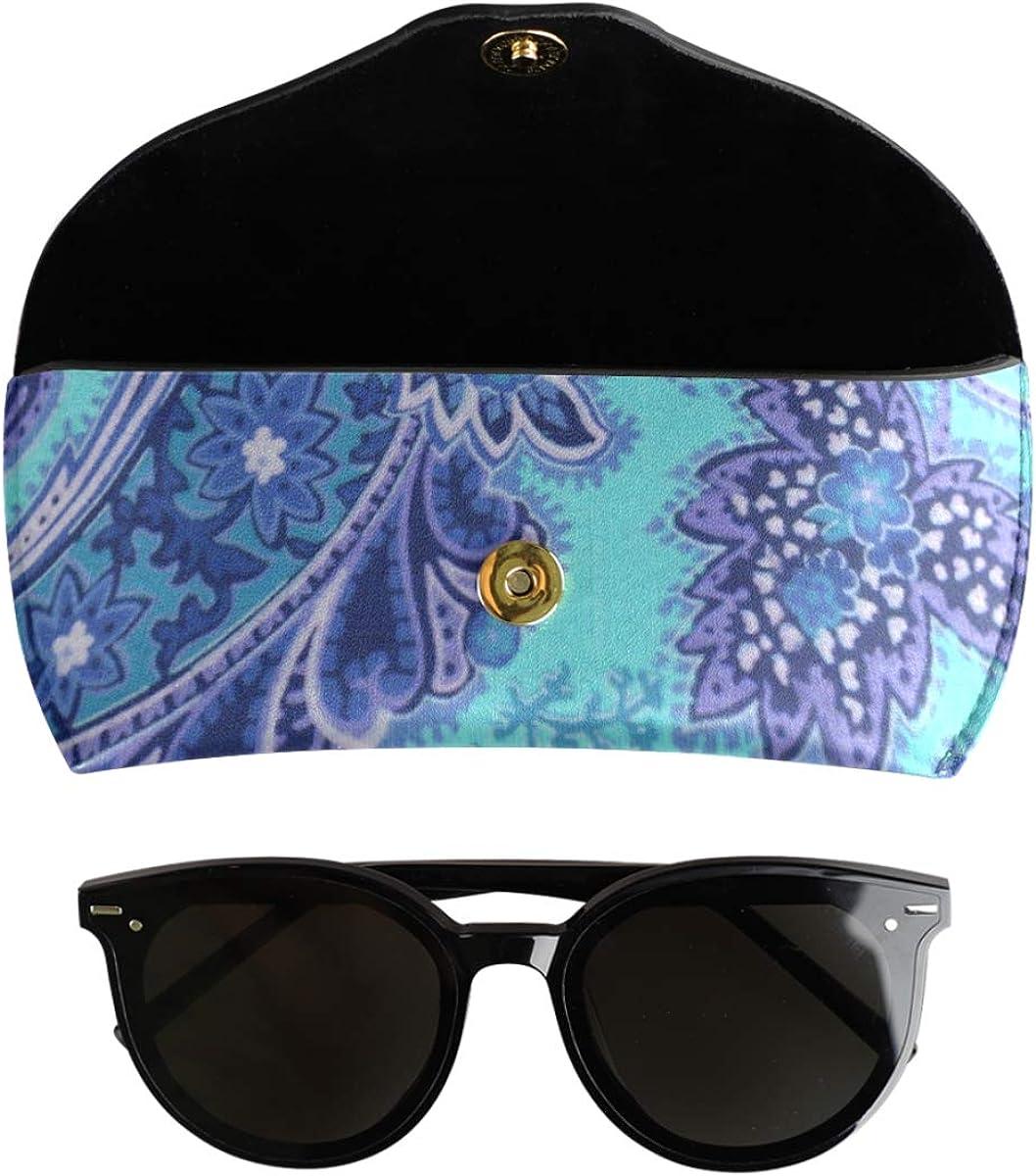 Portable Wallet PU Leather Goggles Bag Art Flower Blue Paisley Multiuse Sunglasses Case Eyeglasses Pouch