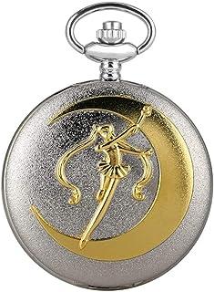 LCZ Pocket Creative Argent Grand Golden Quartz Pocket Sailor Moon Collier Collier Pendentif en Rotin Floral Filles Montre ...