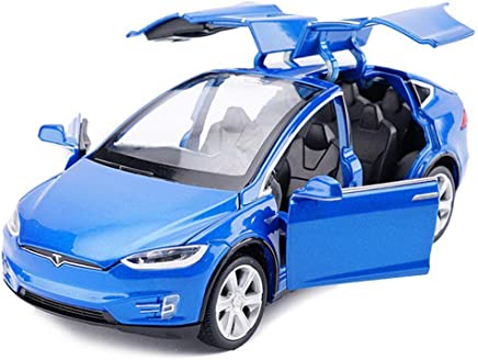 Tesla Toy Car Alloy Pull Back Cars with Sound and Light Kids Toys 1:32 Scale Model X 90 (Blue)