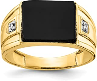 14k Yellow Gold Mens Black Onyx Diamond Band Ring Size 10.00 Man Fine Jewelry Gift For Dad Mens For Him