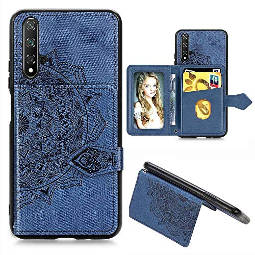 HAOYE Hülle für Huawei Nova 5T Hülle Brieftasche, Ziemlich Retro PU Leder Geprägt Mandala Muster Design Flip Handyhülle, Huawei Nova 5T Stoßfest Schutzhülle, Blau