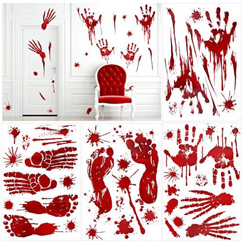 HOWAF 80+ pcs Halloween Fenster Aufkleber Selbstklebende fensterdeko Realistisch Wirkende Schaurig Blutige Hand Fuß mit Blutflecken Fenster Sticker für Halloween Party Dekorationen