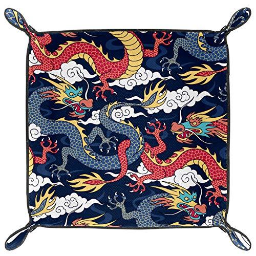 Würfeltablett, faltbares Tablett aus PU-Leder für RPG Würfel, Gaming und andere Brettspiele, chinesische Mythen, Legenden, Drache, rot, marineblau
