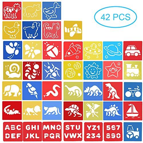 42 Piezas Plantillas para Pintar - Stencil Grandes Letras Números Animales Dinosaurios Insectos Transporte Planetas - Manualidades Juguetes para Niños Niña 3 4 5 6 Años