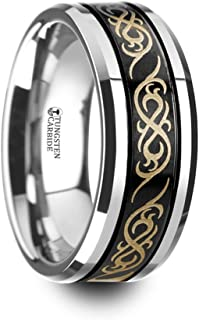 RAIZEN Black Tungsten Carbide Wedding Ring with Dual Offset Grooves and Laser Engraved Celtic Pattern Polished and Beveled Edges - 8mm