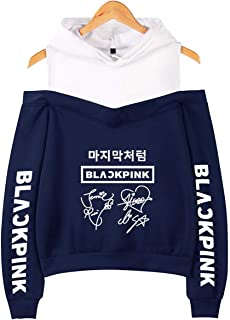 SERAPHY Kpop Blackpink Strapless Shoulder Hoodie Signature Printed Sweatshirts Women's Hooded Pullover