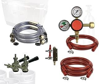 Coldbreak Jockey Box Dispensing Kit, 2 Tap, Includes: CO2 Regulator, 4' Air Lines, Sankey 'D' Beer Couplers (SS Probe), 6' Jockey Box Beverage Jumpers (SS Tailpieces), NO Tank