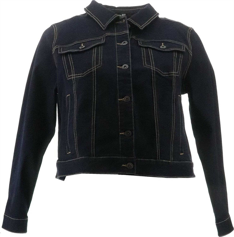 Du Jour Denim Jacket Back Ruffles Dark Wash 18W NEW A375036