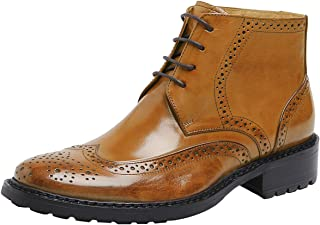 SANTIMON Men's Heritage Wingtip Boots Leather Lace up Brogue Oxford Ankle Boot
