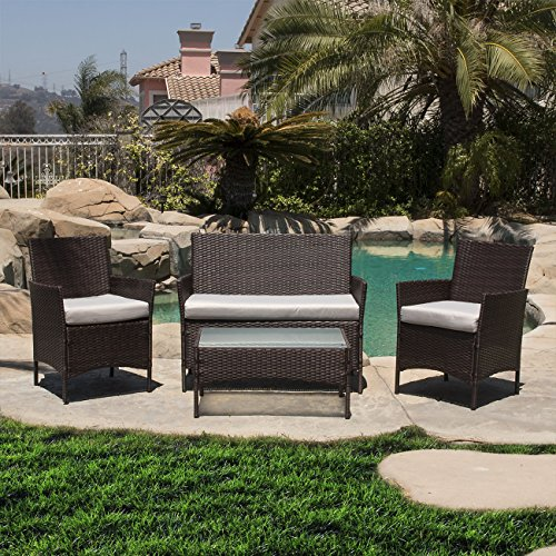 BELLEZE 4PC Patio Rattan Wicker Chair Sofa Table Set Outdoor Garden Furniture Backyard with Seat Cushion, Brown