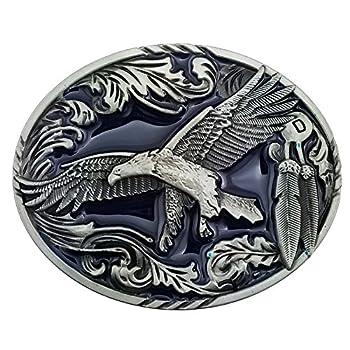 Lanxy Cool Eagle Belt Buckle For Men Native American Western Cowboy Oval Belt Buckles Blue Enamel
