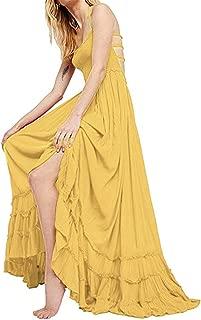 Women's Sexy Blackless Halter Boho Ruffle Swing Flowy Maxi Party Dress