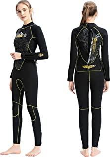 Huanxin Womens Wetsuit 5Mm Full Length Thicken Warm One-Piece Suede Winter Wetsuit for Snorkeling and Surfing,A,S