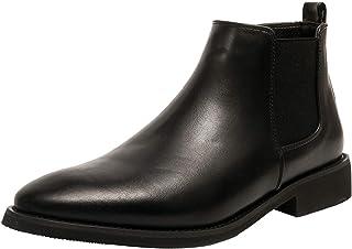 FUNPLUS Hommes Bottines Bout Pointu Banquet Chaussures habillées Automne Haut en Cuir Chaussures d'affaires à Talons Bas C...