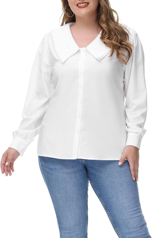 1900 -1910s Edwardian Fashion, Clothing & Costumes Hanna Nikole Plus Size Vintage Button Down Shirt Peter Pan Collar Blouse Puff Sleeve Tops  AT vintagedancer.com